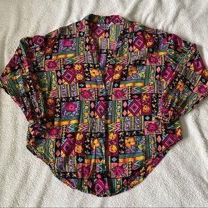Pelican Cove geometric tropical bright blouse